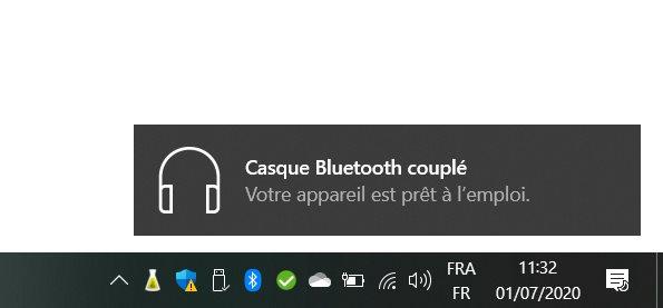 L'appairage se fait simplement sur Windows 10