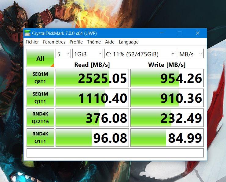 Le SSD n'est pas des plus performants