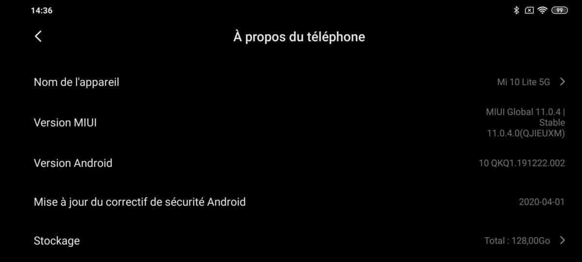 Partie logicielle du Xiaomi Mi 10 Lite 5G