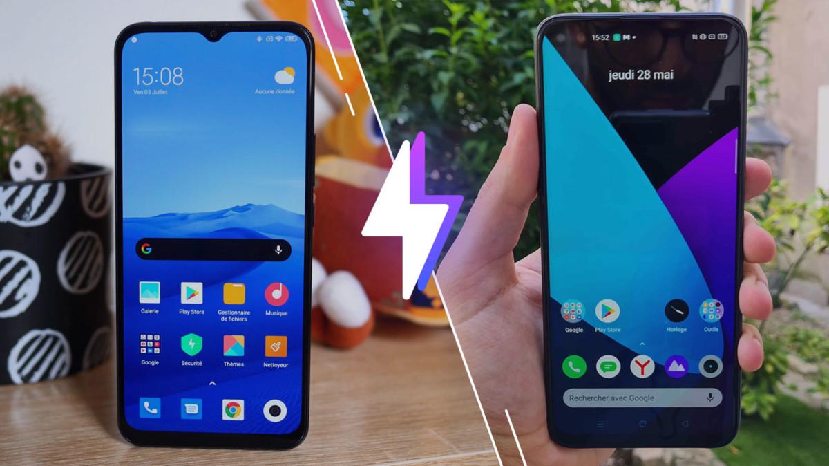 Le Xiaomi Mi10 Lite à gauche et le Realme6 Pro à droite