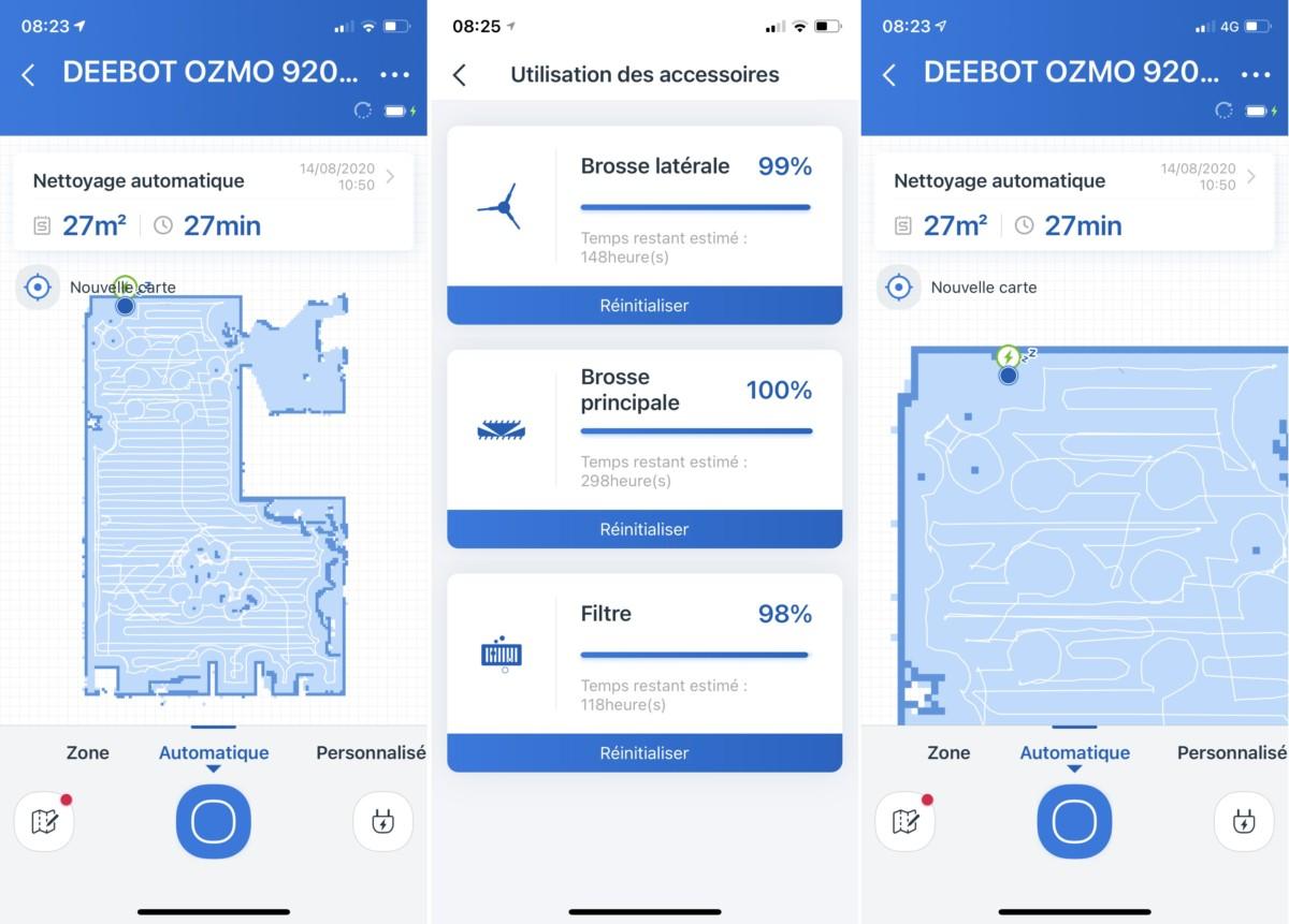 L'application mobile d'Ecovacs est intégralement traduite en français et permet de voir facilement le trajet du Ozmo920.