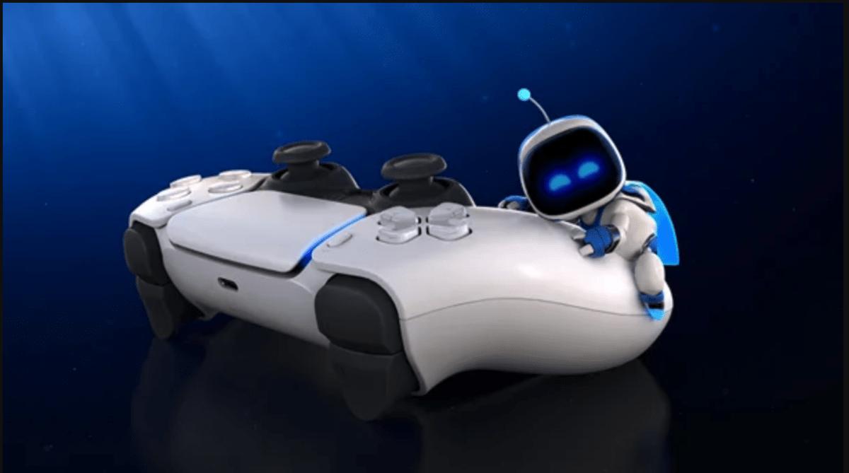 PS5 DualSense controller and Astro the robot