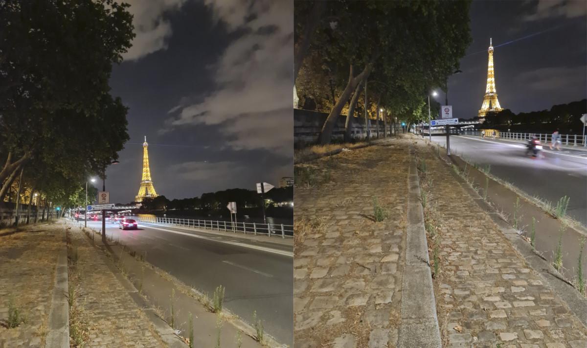 À gauche, la tour Eiffel est centrée, mais les arbres à gauche sont trop imposants. À droite, la ligne d'horizon est mal placée ce qui fait du trottoir pavé le centre d'attention.