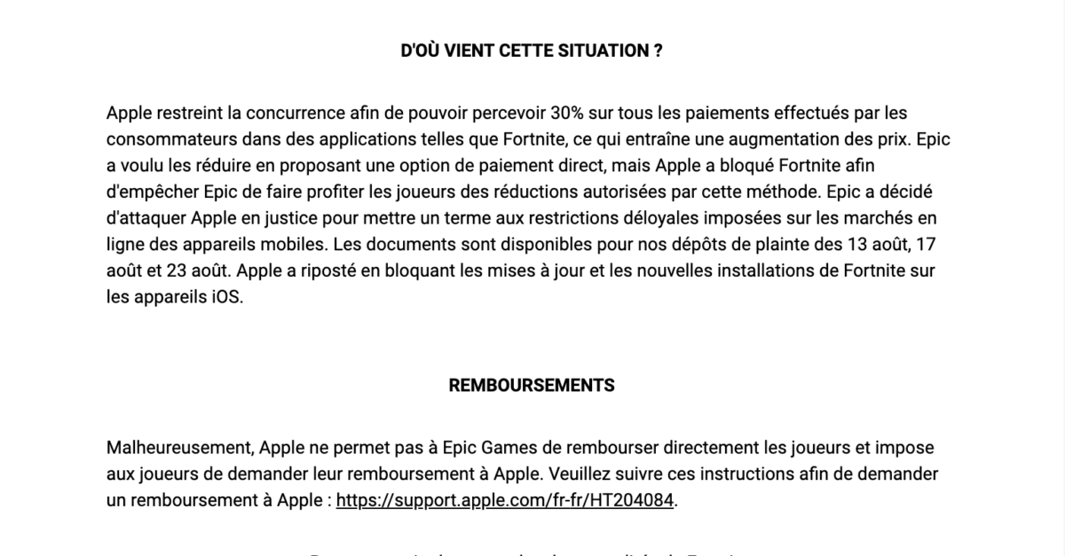 E-mail Epic Games envoyé aux joueurs Apple Fortnite