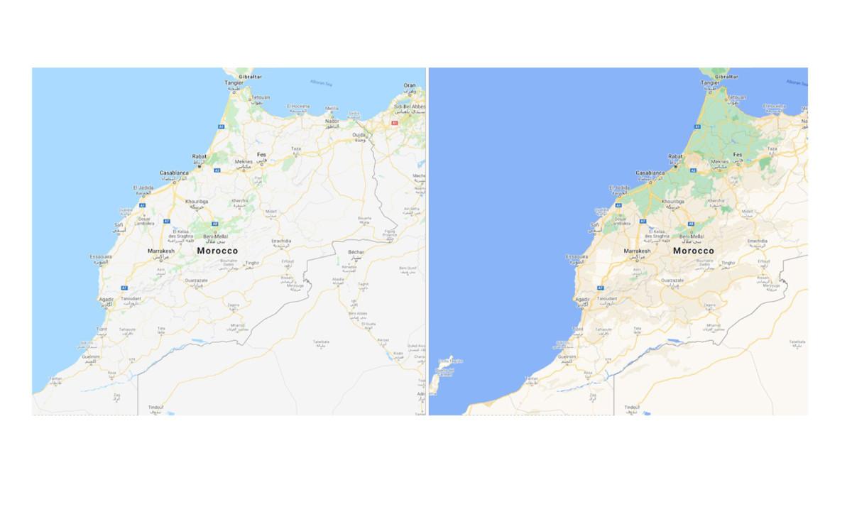 Carte plus détaillée du Maroc sur Google Maps