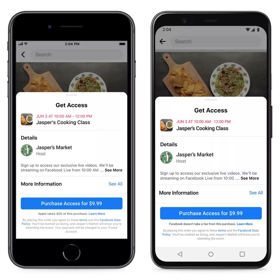 Facebook veut prévenir qu'Apple prélève 30 % de commission