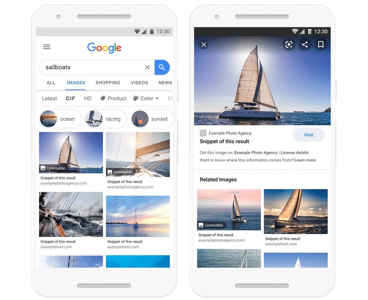 Google Images affiche désormais mieux les licences de ses contenus