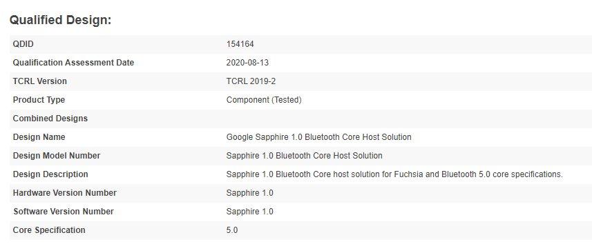 Certification Bluetooth de Sapphire 1.0