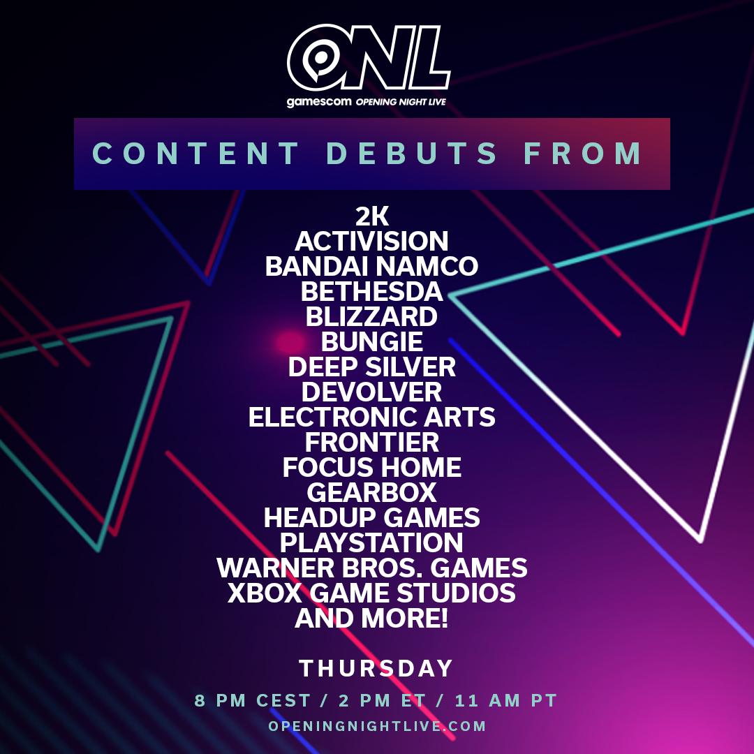 Le programme de la Gamescom 2020