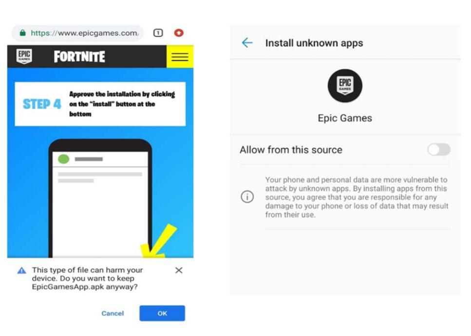 Deux messages d'avertissement contre l'installation d'apps en dehors du Play Store