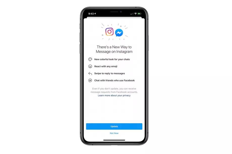 Fusion de Messenger et Instagram annoncée