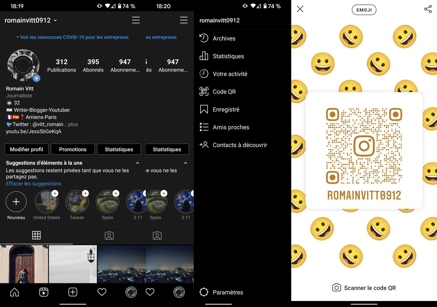instagram qr code partage