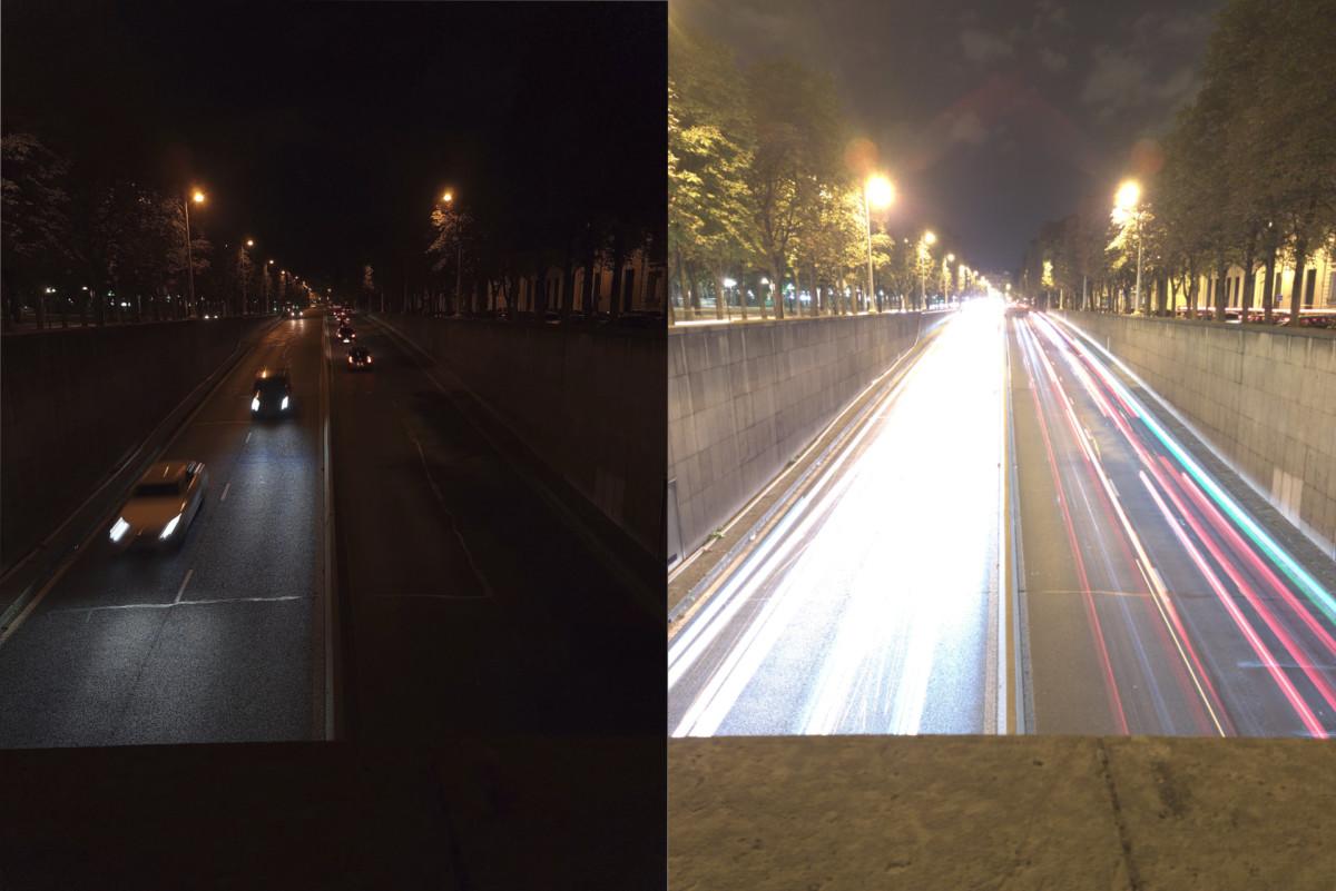 À gauche une photo sous-exposée, car la vitesse d'obturation est trop faible. À droite, une photo prête pour la postproduction.