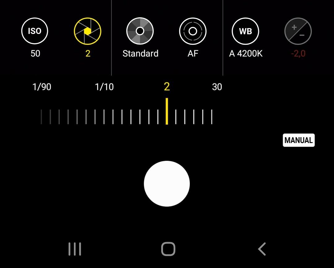 Le réglage de la vitesse d'obturation du mode Pro.
