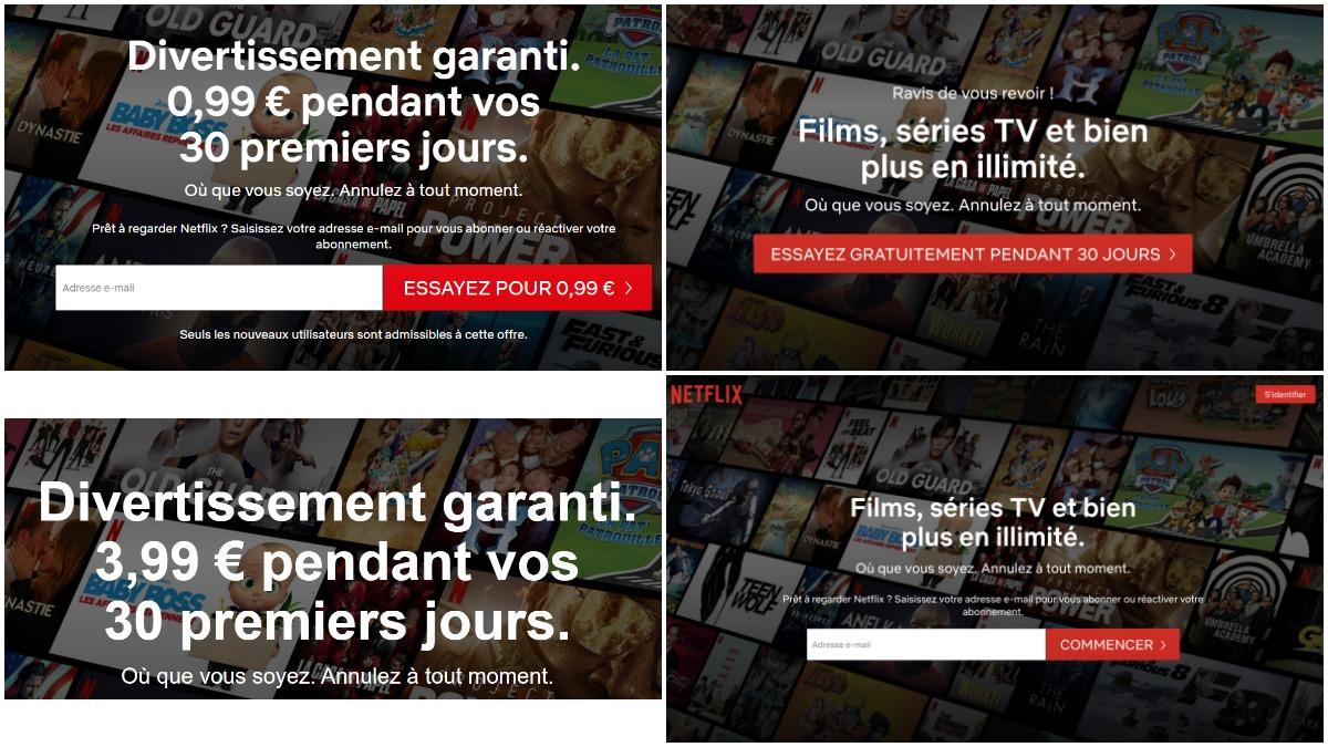 Netflix fixe des prix différents pour son offre d'essai