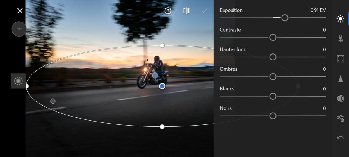Lightroom Mobile permet de retoucher des zones précises de la photo. C'est très pratique pour des photos en filé, qui demandent des retouches précises.