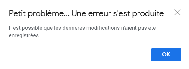 Message d'erreur sur Gmail