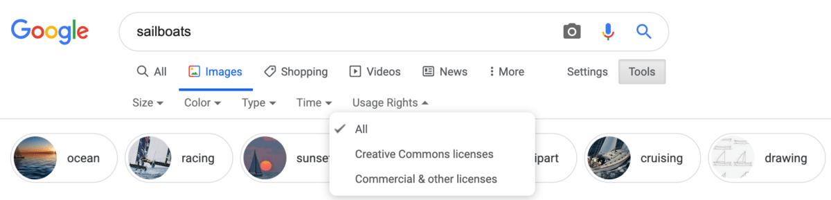 Les filtres du moteur de recherche de Google Images