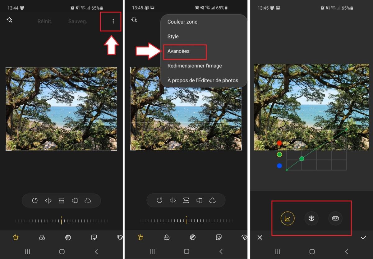 Des fonctions de retouches avancées se trouvent bien cachées dans l'interface, en cliquant sur les trois points situés en haut à droite de l'interface. Elles permettent notamment d'accéder aux outils de courbes.