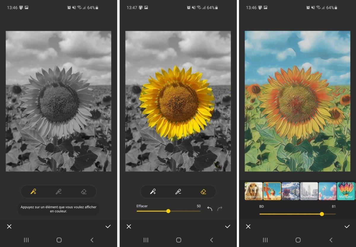 Il est possible de faire apparaître uniquement certaines couleurs avec l'outil « Couleur Zone » et d'accéder à des filtres supplémentaires dans l'option « Style ».