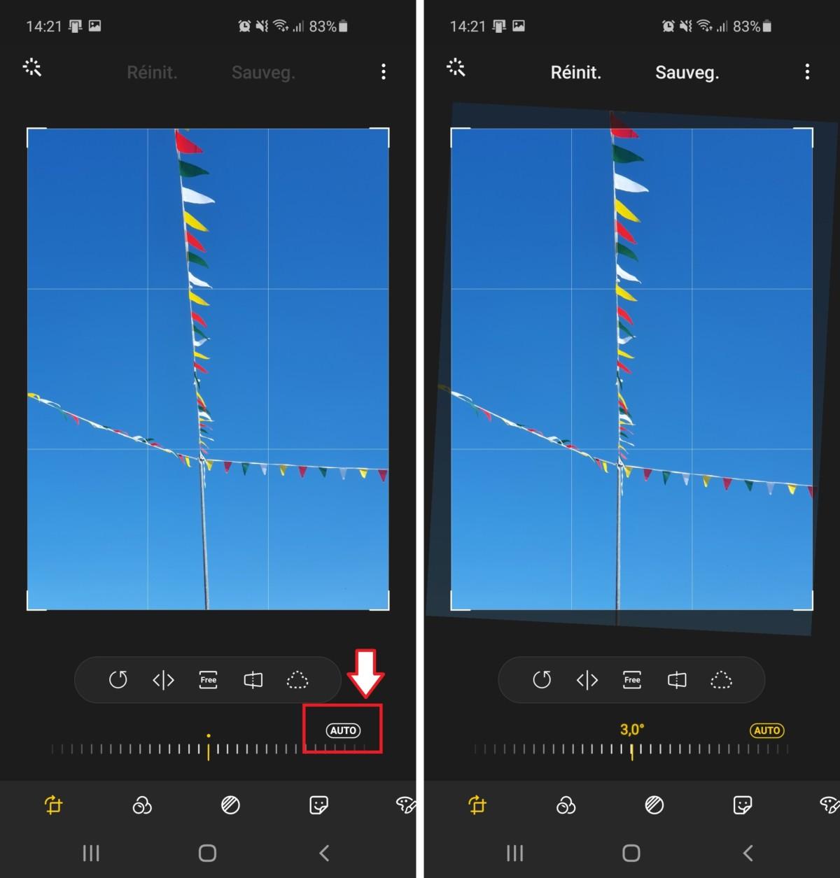 L'application photo des appareils Samsung propose une fonctionnalité de recadrage automatique.