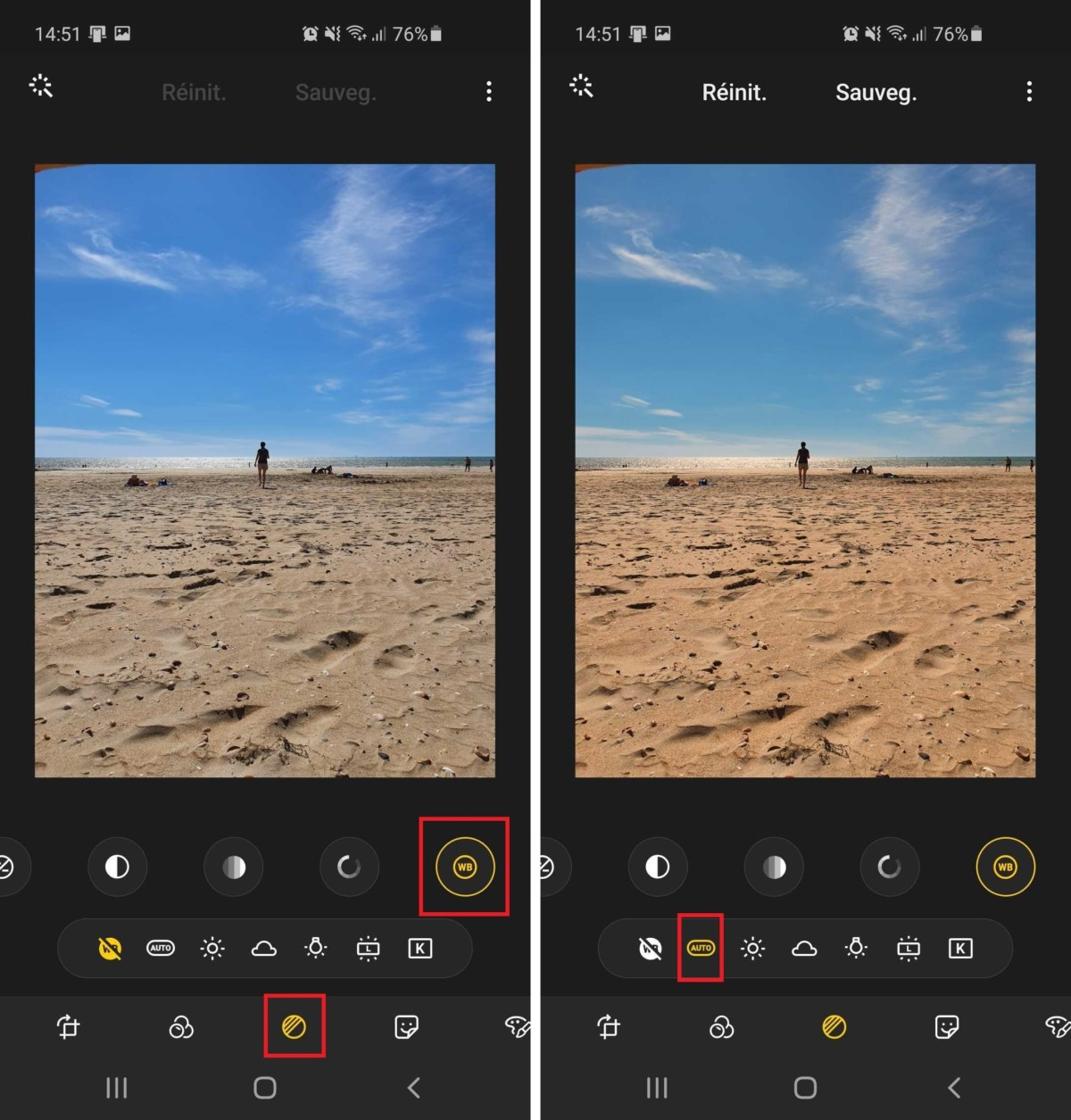L'application Galerie de Samsung propose également une retouche automatique des couleurs. Le résultat est généralement convaincant.