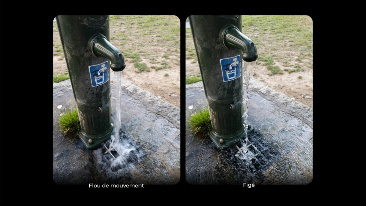 La photo de gauche a été prise avec une vitesse d'obturation lente, tandis que la photo de droite a été prise avec une vitesse d'obturation rapide.