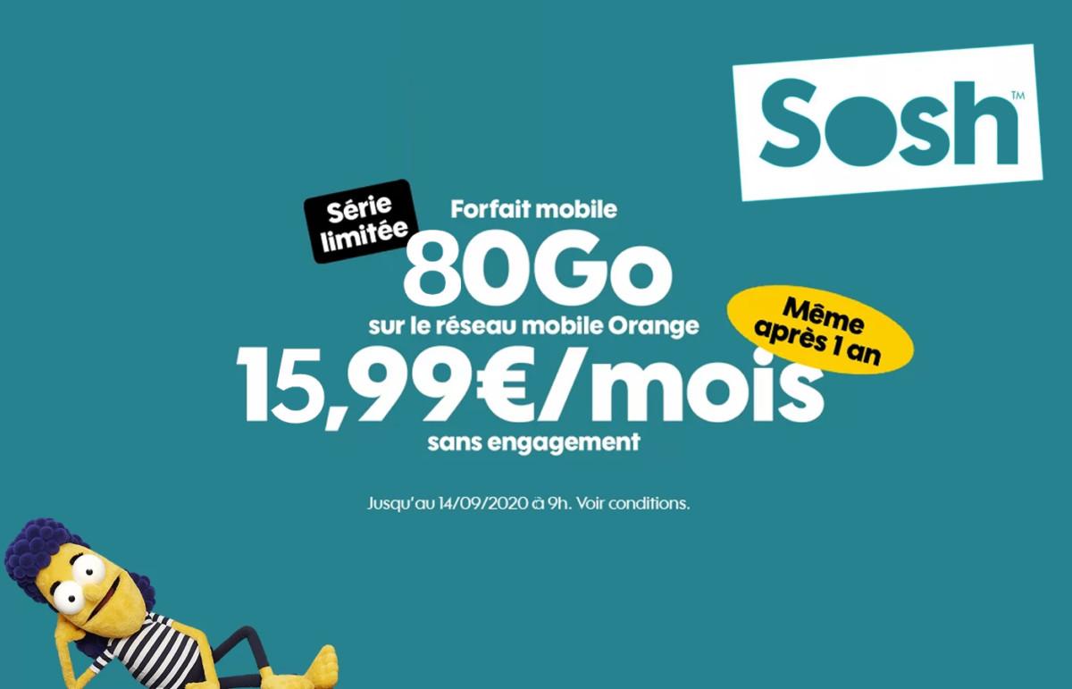 80 Go pour 16 euros à vie avec ce nouveau forfait mobile Sosh