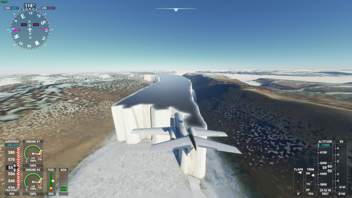 L'Arctique ou Le Mur de Game of Thrones dans Flight Simulator