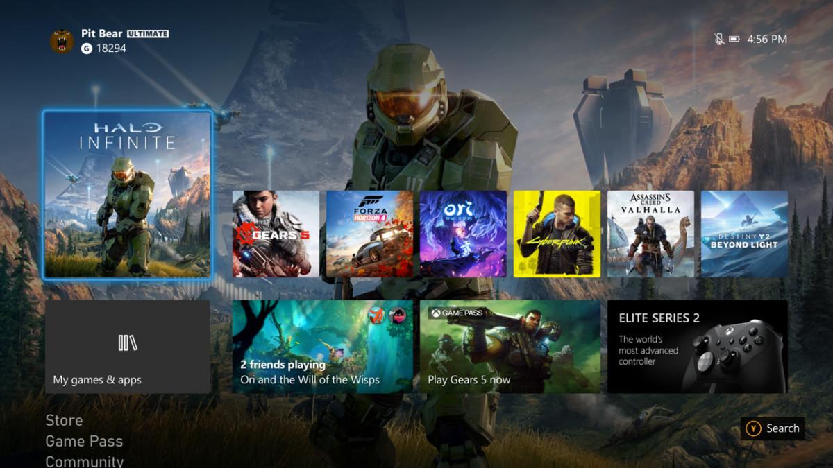La page d'accueil de la Xbox Series S | X