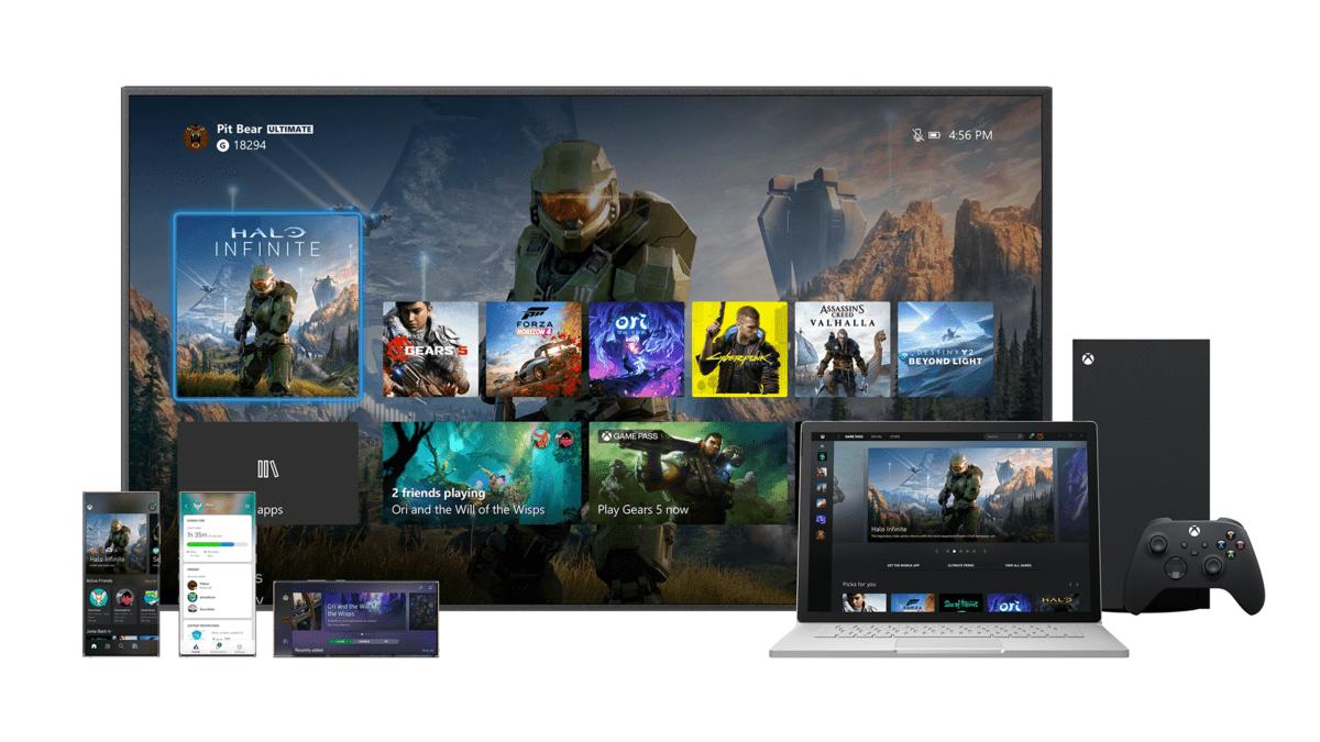 La page d'accueil de la Xbox Series X