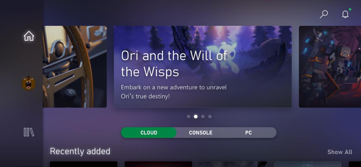 L'interface Xbox sur mobile