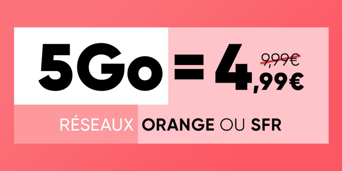 Moins de 5 euros pour ce forfait mobile disponible sur Orange ou SFR