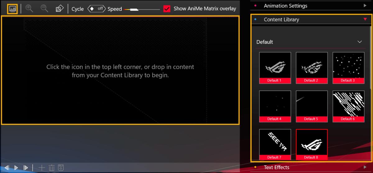L'interface Anime Matrix pour configurer l'écran LED du ROG Zephyrus G14