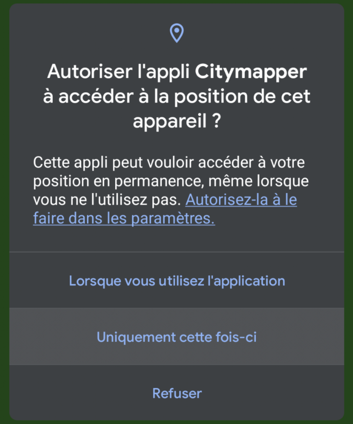 Autorisation unique sur Android 11