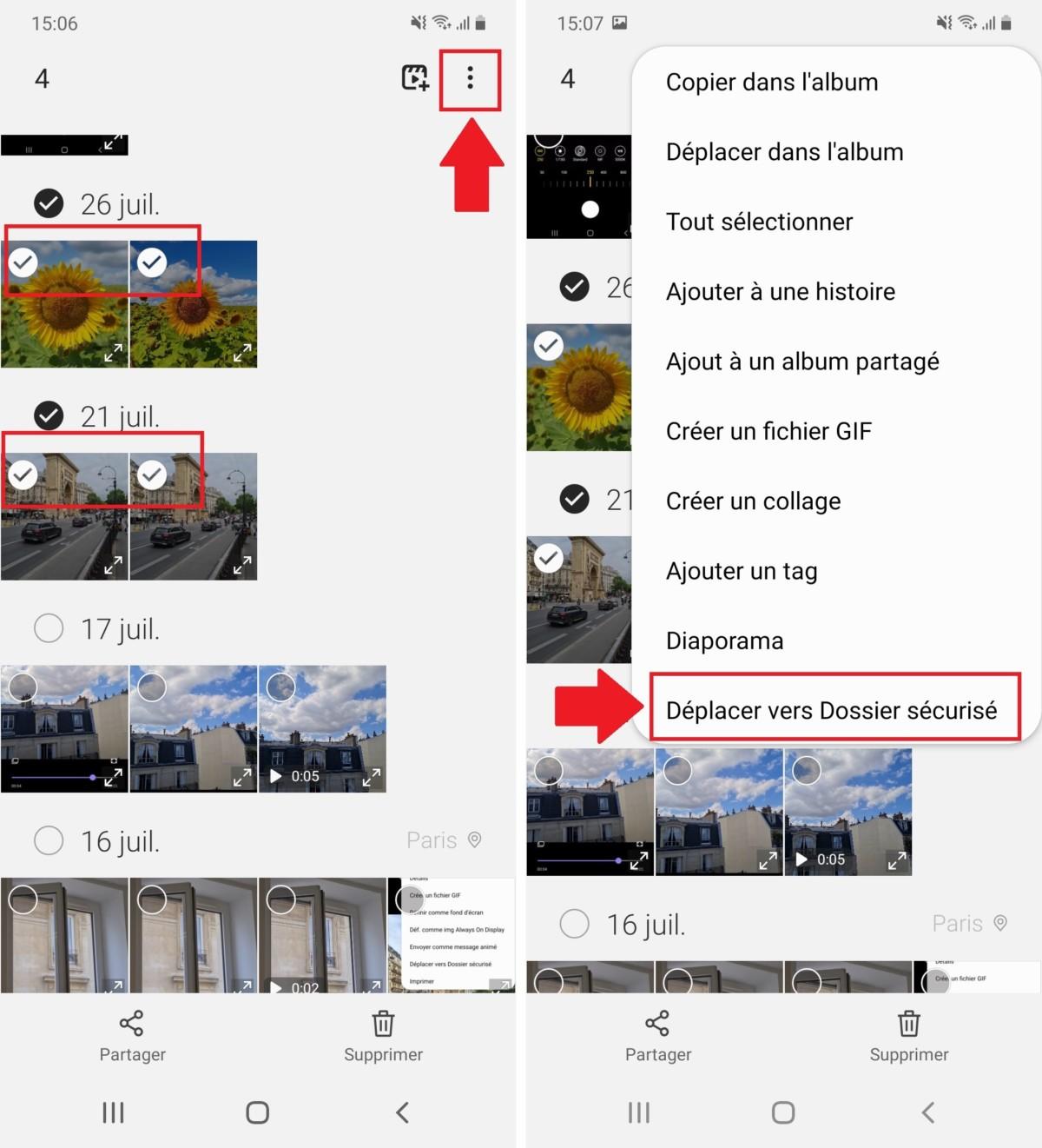 La première méthode pour cacher des images est de les sélectionner dans la Galerie, puis de les envoyer dans le Dossier sécurisé, en cliquant sur les 3 points situés en haut à droite de la Galerie.