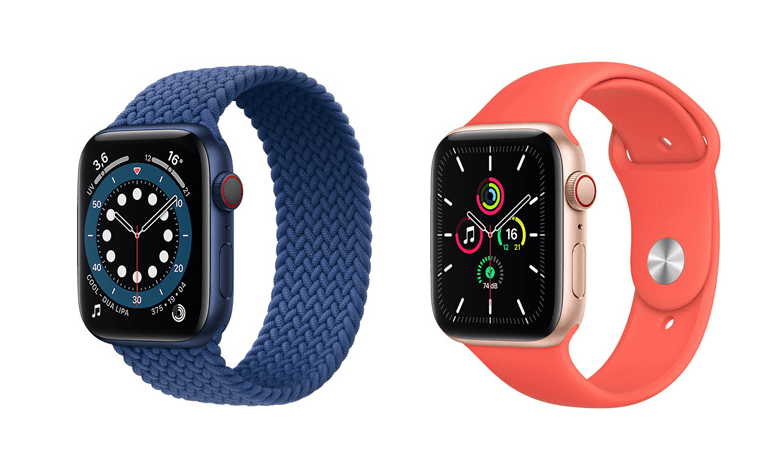 L'Apple Watch Series 6 à gauche et l'Apple Watch SE à droite