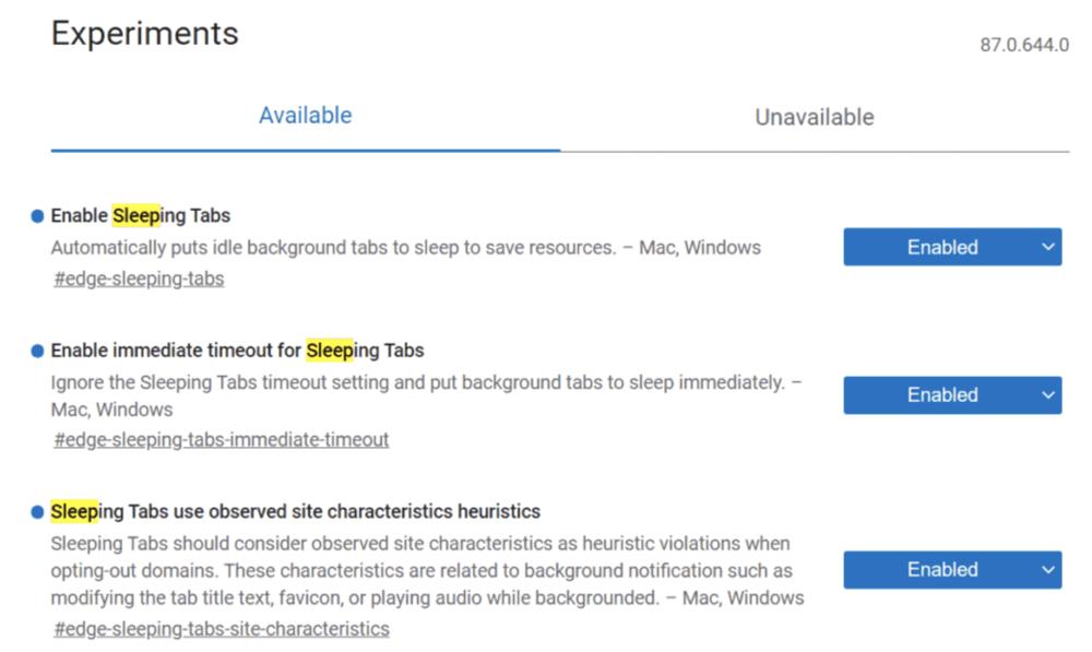 Microsoft Edge - paramètres des Sleeping Tabs