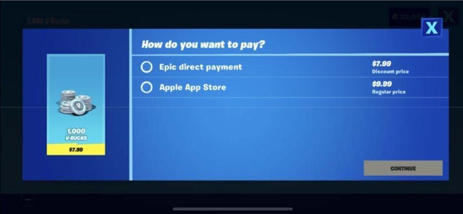 La pomme de discorde? Ce lien proposé en alternative au mode de paiement d'Apple sur Fortnite