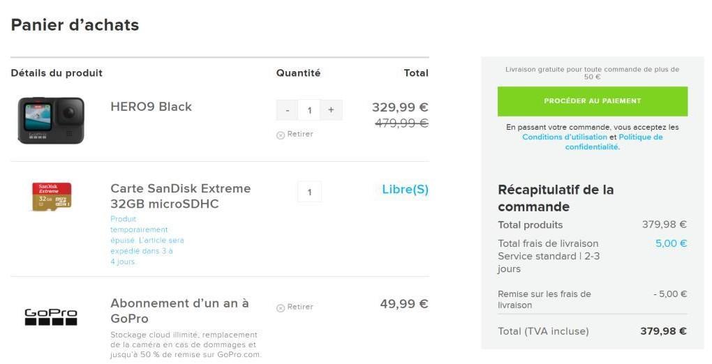 On peut en réalité dire que la GoPro Hero9 Black coûte 380euros
