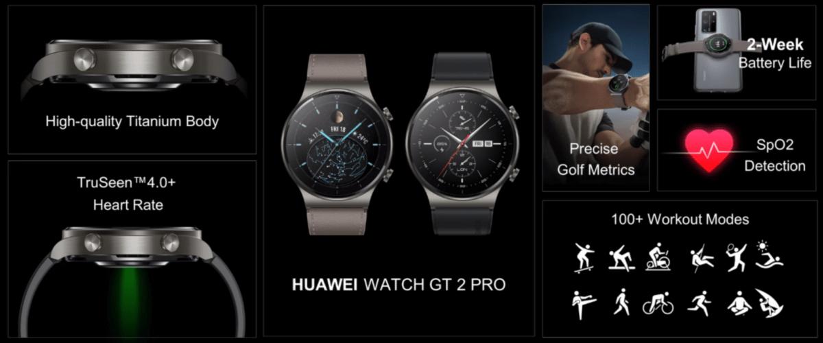 Les caractéristiques de la Huawei Watch GT2 Pro