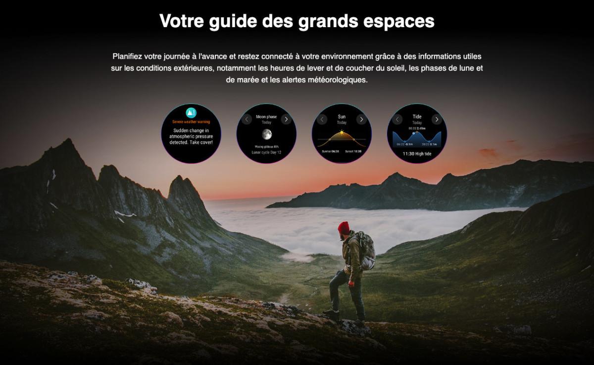 La Honor Watch GS Pro peut afficher des données importantes sur votre environnement: marée, cycle de la lune et du soleil, etc.