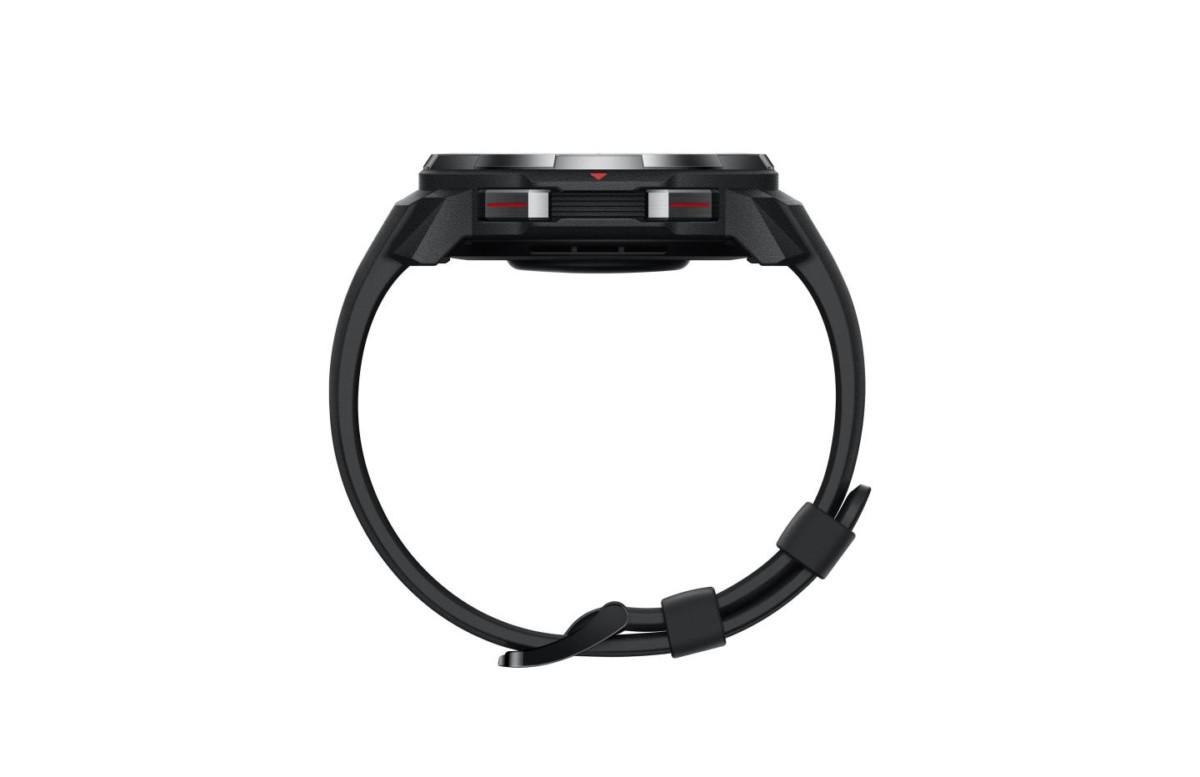 En plus de l'écran tactile, des boutons physiques latéraux permettent de naviguer dans l'interface de la montre.