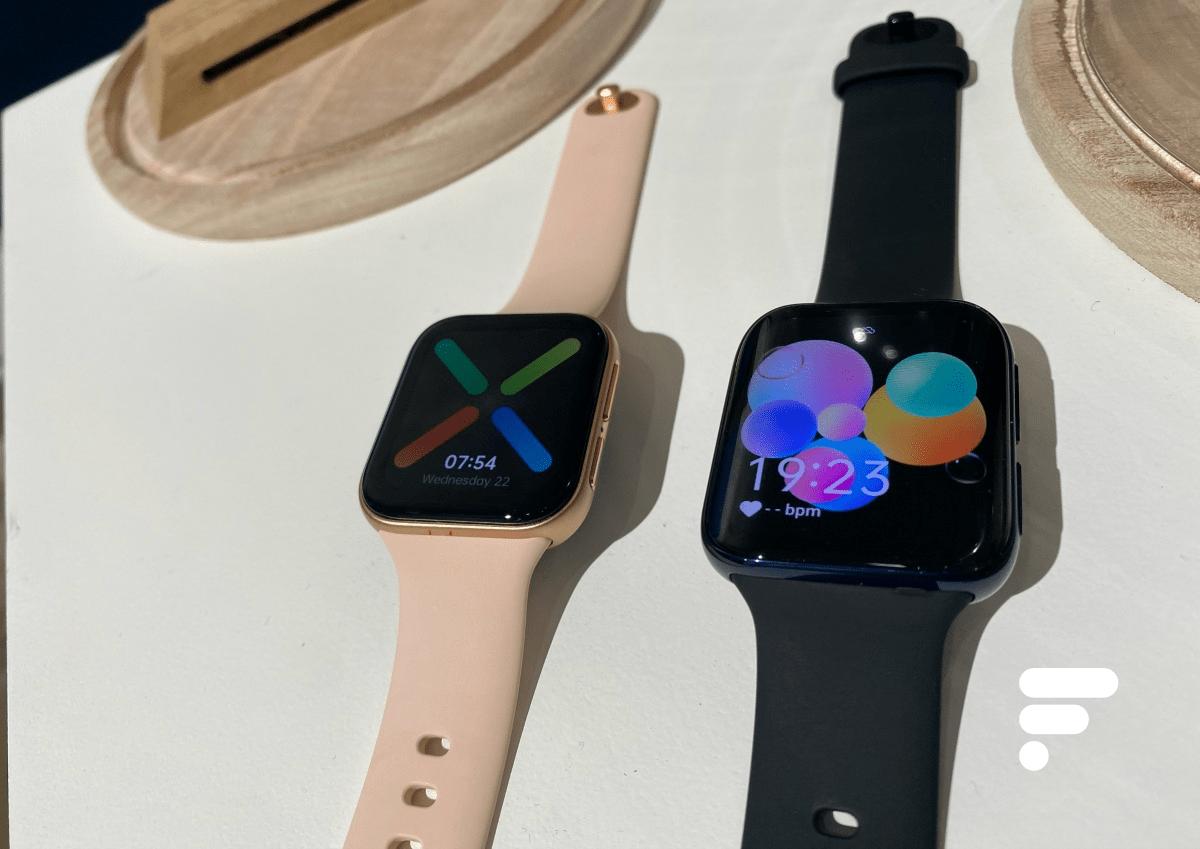 L'Oppo Watch 41mm à gauche et la version 46mm à droite