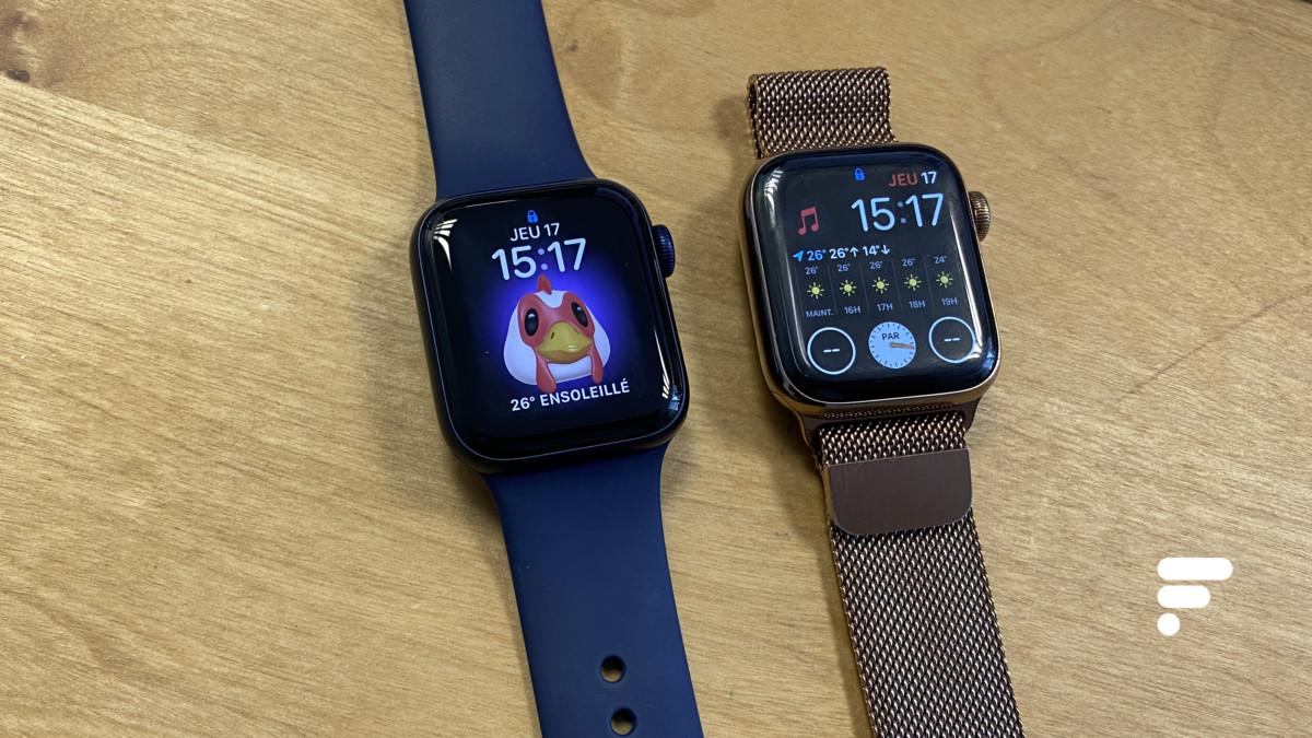 De gauche à droite : l'Apple Watch Series 6 et l'Apple Watch Series 5