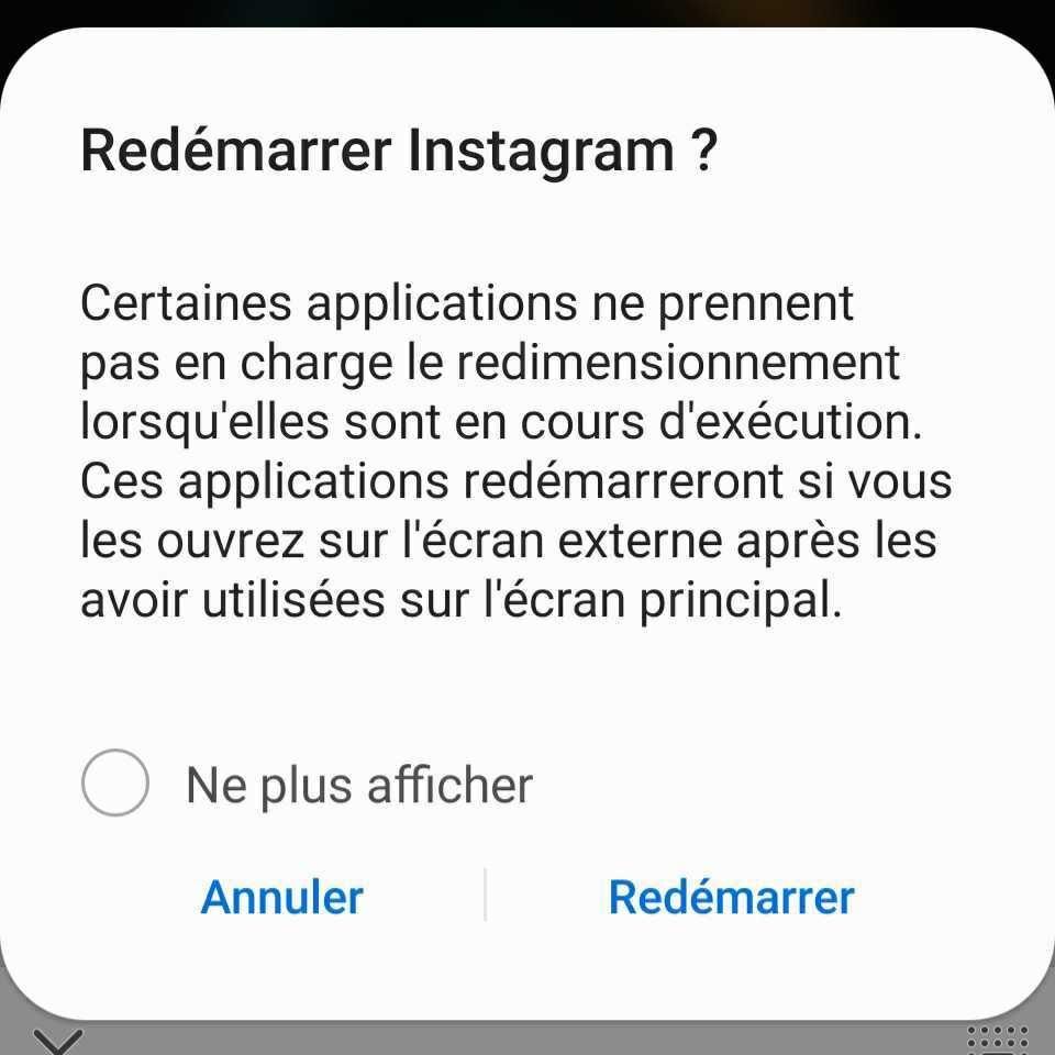 Message d'erreur d'Instagram sur le Galaxy Z Fold 2