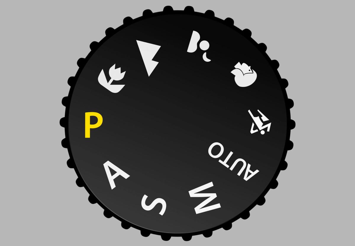 Le mode programme (P) sur la molette des modes