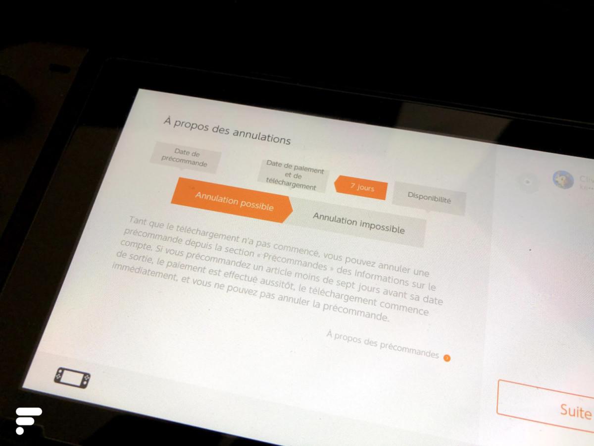 L'eShop mentionne bien la possibilité d'annuler la précommande