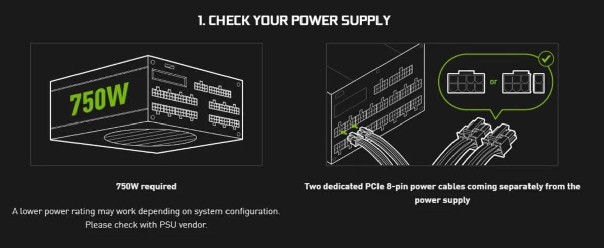 Nvidia recommande une alimentation de 750W