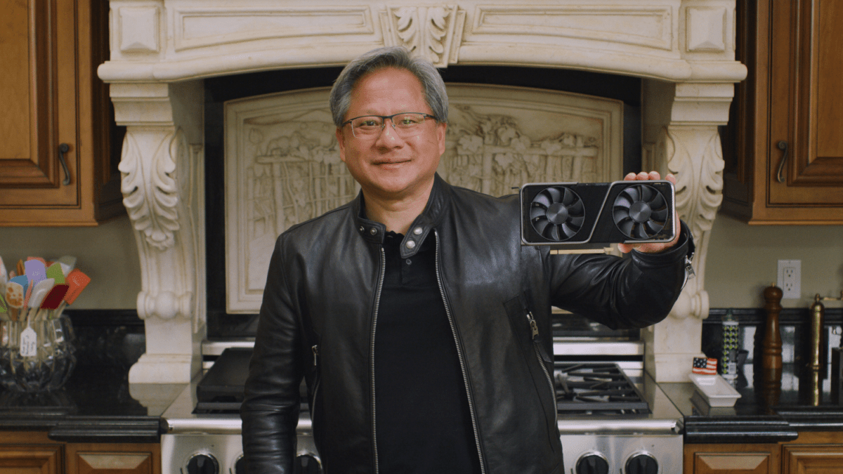 Nvidia boss Jensen Huang holding an RTX 3070 at the September 1, 2020 announcement conference